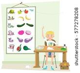 boy in class raising his hand ... | Shutterstock .eps vector #577278208