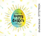 watercolor easter egg with type ... | Shutterstock .eps vector #577279024
