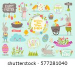 set of cute easter cartoon... | Shutterstock .eps vector #577281040