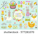 set of cute easter cartoon... | Shutterstock .eps vector #577281070