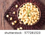 cooked chickpeas on a bowl.... | Shutterstock . vector #577281523
