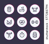 fitness line icons set  fit and ... | Shutterstock .eps vector #577283794