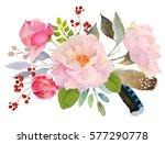 watercolor floral composition.... | Shutterstock . vector #577290778