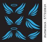 vector sketch of angel wings.... | Shutterstock .eps vector #577310614