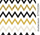Seamless pattern of golden glitter zigzag chevron, golden background of zig zag stripe, vector design for textile, wallpaper, web, wrapping, save the date, wedding, card, paper | Shutterstock vector #577312204