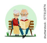 old couple loving happy sitting ... | Shutterstock .eps vector #577313974