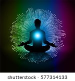 man meditate dark green blue... | Shutterstock .eps vector #577314133