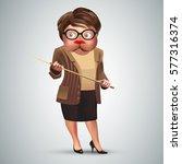 funny old teacher holding a... | Shutterstock .eps vector #577316374