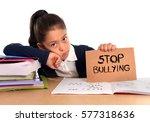 young cute hispanic schoolgirl... | Shutterstock . vector #577318636