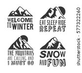 hand drawn mountains logo and... | Shutterstock .eps vector #577322260