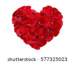 Stock photo beautiful heart of red rose petals isolated on white 577325023