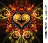 Abstract Ornamented Heart With...