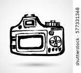 grunge camera icon in grunge...