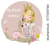 cute cartoon girl with unicorn | Shutterstock .eps vector #577335760