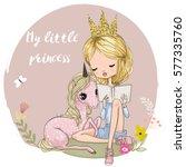 cute cartoon girl with unicorn | Shutterstock .eps vector #577335760