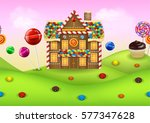 fantasy candyland with... | Shutterstock . vector #577347628