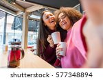 multiracial best friends taking ... | Shutterstock . vector #577348894