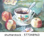 still life with cup and apples | Shutterstock . vector #577348963