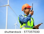 power engineer are working with ... | Shutterstock . vector #577357030