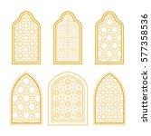 set of ornamental windows in... | Shutterstock .eps vector #577358536