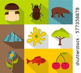flora and fauna icons set. flat ... | Shutterstock . vector #577358878