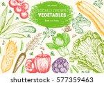 vegetables top view frame.... | Shutterstock .eps vector #577359463