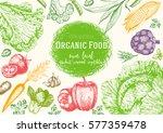 vegetables top view frame.... | Shutterstock .eps vector #577359478