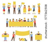 striking people holding empty... | Shutterstock .eps vector #577362508