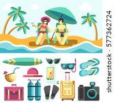 summer vacation at sea elements ... | Shutterstock .eps vector #577362724