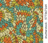 seamless floral orange and blue ... | Shutterstock .eps vector #577367164