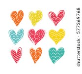 set of hand drawn hearts with...