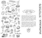 hand drawn doodle fast food...   Shutterstock .eps vector #577375570