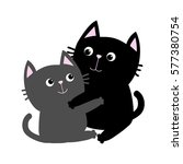 black gray cat hugging family... | Shutterstock .eps vector #577380754