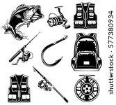 fishing set of bass  jacket ... | Shutterstock .eps vector #577380934