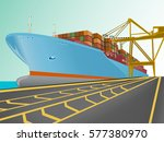 cargo ship with containers on... | Shutterstock .eps vector #577380970