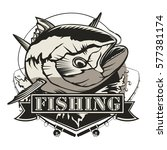 tuna fishing logo isolated on... | Shutterstock .eps vector #577381174