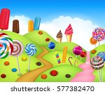 beautiful candyland with... | Shutterstock . vector #577382470