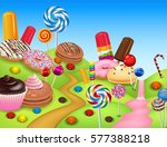 sweet candyland with cupcake ... | Shutterstock . vector #577388218