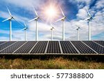 photo collage of solar panels... | Shutterstock . vector #577388800
