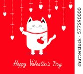 happy valentines day. white cat ...   Shutterstock .eps vector #577390000