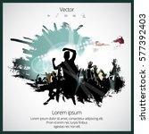 silhouette of dancing people | Shutterstock .eps vector #577392403