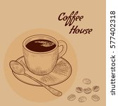 sketch hand drawn image of cup... | Shutterstock .eps vector #577402318