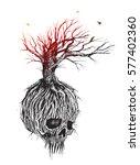 fantastic skull tree roots and... | Shutterstock .eps vector #577402360
