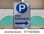 pay parking blue and white sign
