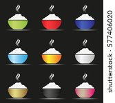 various color asian food bowl... | Shutterstock .eps vector #577406020