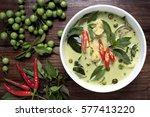 chicken green curry thai food ... | Shutterstock . vector #577413220