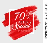 Sale special offer 70% off sign over art brush acrylic stroke paint abstract texture background vector illustration. Perfect watercolor design for a shop and sale banners.