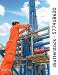 offshore oil rig worker prepare ... | Shutterstock . vector #577418620