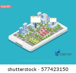 vector isometric low poly city | Shutterstock .eps vector #577423150