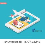 travel and tourism background.... | Shutterstock .eps vector #577423243